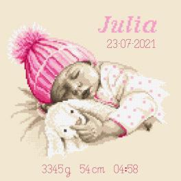 GC 10338 Gedruckte Kreuzstichvorlage - Geburtsschein - Süßer Traum eines Mädchens