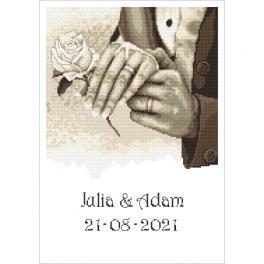 GC 10340 Gedruckte Kreuzstichvorlage - Hochzeitsandenken - Händen