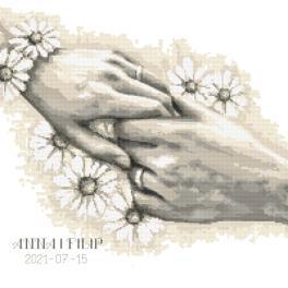 W 10467 Kreuzstichvorlage PDF - Hochzeitsurkunde mit Händen
