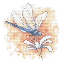 W 10466 Kreuzstichvorlage PDF - Pastelllibelle