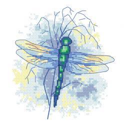 W 10470 Kreuzstichvorlage PDF - Saphirblaue Libelle