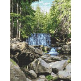 GC 10683 Gedruckte Kreuzstichvorlage - Wilder Wasserfall
