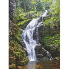 W 10682 Kreuzstichvorlage PDF - Berg Wasserfall