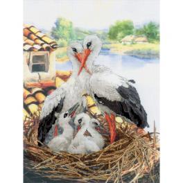 RIO 0088PT Stickpackung mit Stickgarn und Hintergrund - Storchenfamilie