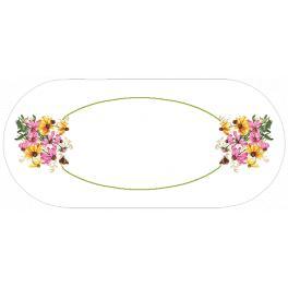 W 10472 Kreuzstichvorlage PDF - Ovaler Tischläufer- Farbenfrohe Blumen