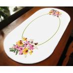 ZU 10472 Stickpackung - Ovaler Tischläufer- Farbenfrohe Blumen